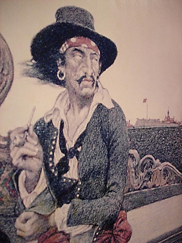Portrait of Captain Kidd on the wall of the Maritime Museum, Vancouver, Canada
