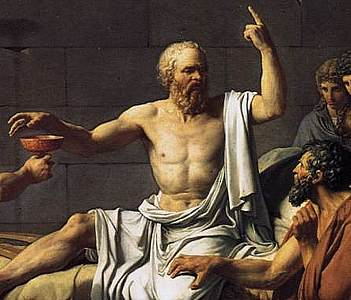 Cropped section of the painting Death of Socrates by Jacques-Louis David, 1787.