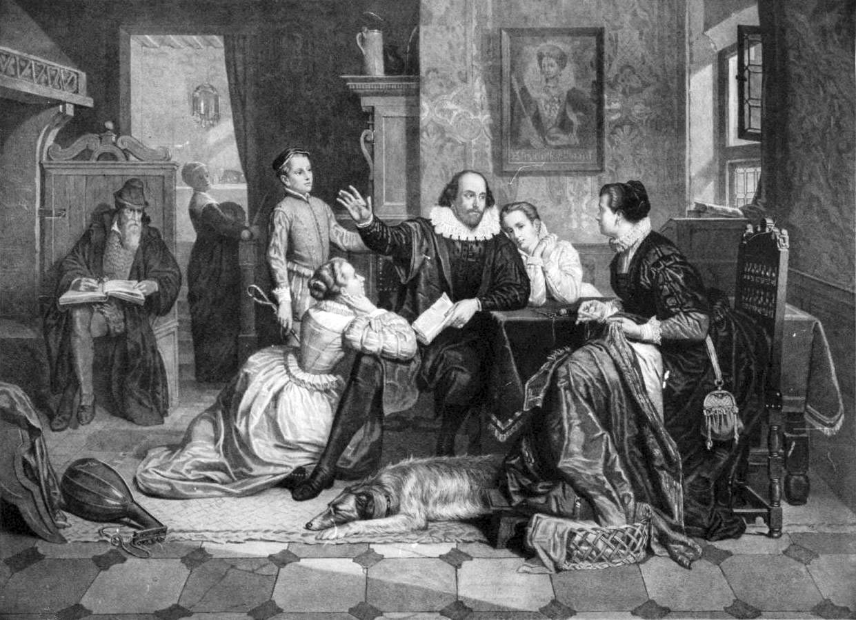 William Shakespeare reciting his play Hamlet to his family. His wife, Anne Hathaway, is sitting in the chair on the right; his son Hamnet is behind him on the left; his two daughters Susanna and Judith are on the right and left of him. Circa 1890 by unknown german engraver.